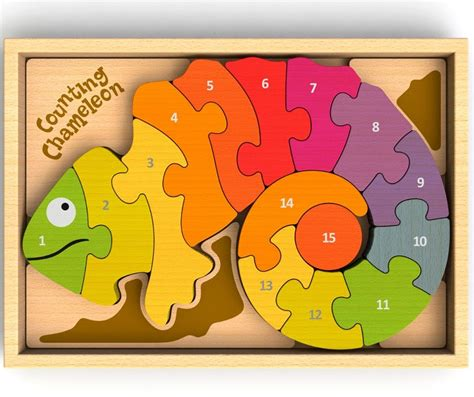 Chunky Puzzle Numbers Puzzle Chunky Angka counting chameleon numbers chunky wooden puzzle