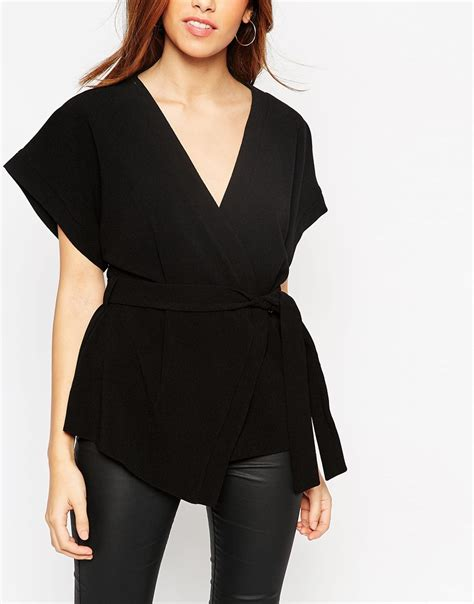 Obi Band Wrap Blouse Bhn Wedges Superfit To L Besar asos obi band wrap blouse at asos
