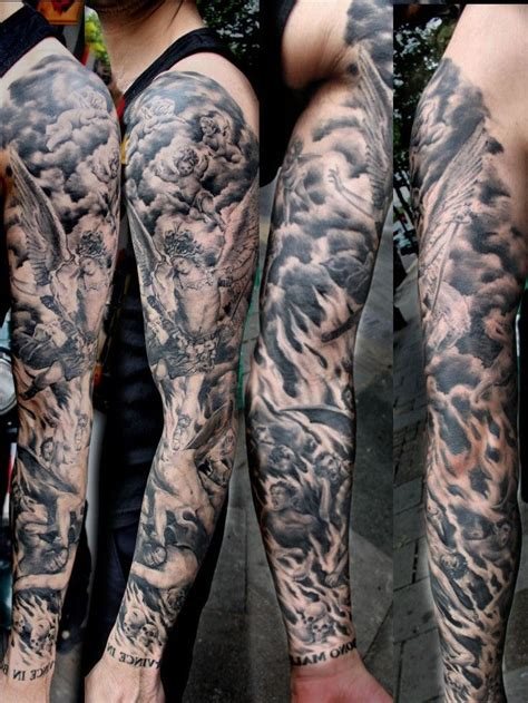 heaven and hell sleeve tattoo designs from heaven to hell search sleeve