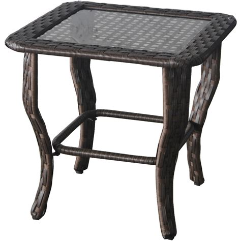 glass top outdoor side table glass top side wicker table outdoor patio porch garden
