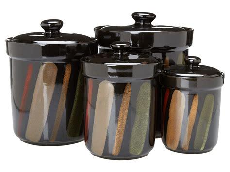 sango nova 4 piece canister set black kitchen dining sango avanti set of 4 canisters black shipped free at zappos