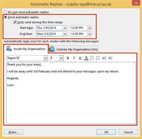 away message template set automatic reply out of office message in outlook 2013