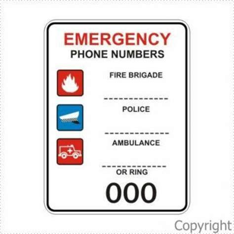 Person Lookup By Phone Number Australia Emergency Phone Numbers Sign By Wilcox Safety Signs Pty Ltd