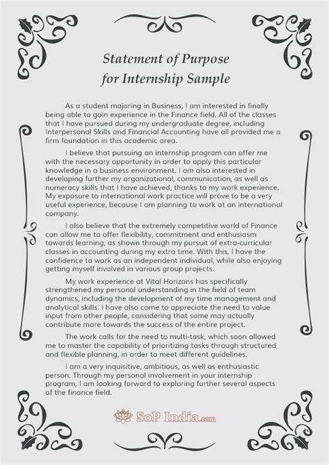 Cs Undergrad Mba by Statement Of Purpose For Internship Sle By