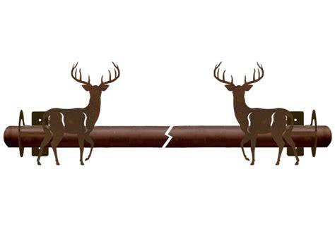 deer antler curtain rods whitetail deer metal curtain rod holders rustic curtain