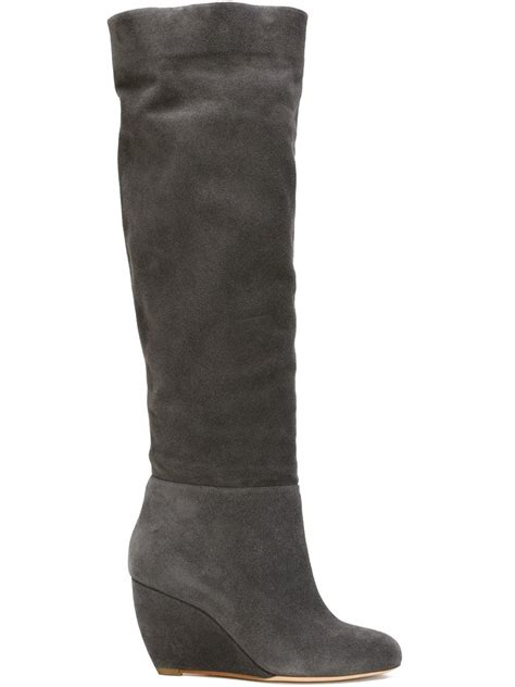 gray boots rupert sanderson knee high wedge boots in gray grey lyst
