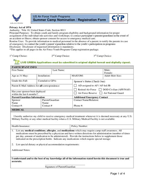 summer c registration form 2 free templates in pdf