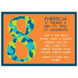 birthday boy camo 8th birthday invitations paperstyle