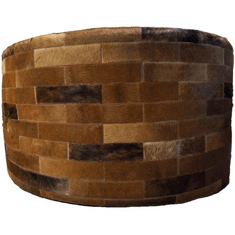 36 round ottoman dark brown round cowhide ottoman 36 inch