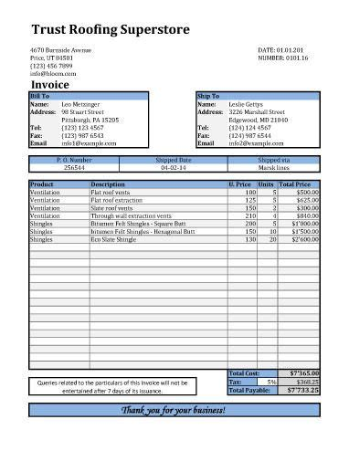 roofing invoice templates roofing invoice template with shipping details invoices