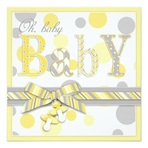 Yellow And Grey Baby Shower Invitations by Baby Yellow Gray Dots Baby Shower 5 25x5 25 Square Paper