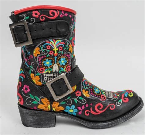 gringo klak boots gringo cowboy boots klak black sugar skull moto biker
