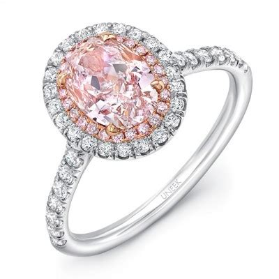 Pink Ring by Uneek Oval Pink Engagement Ring With Pink Diamonds