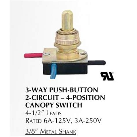 3 Way Push Button Brass L Switch Lcd3746