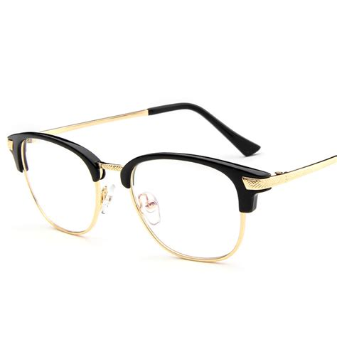 Metal Frame Lens Glasses 2016 semi eyeglasses fashion glasses frame clear