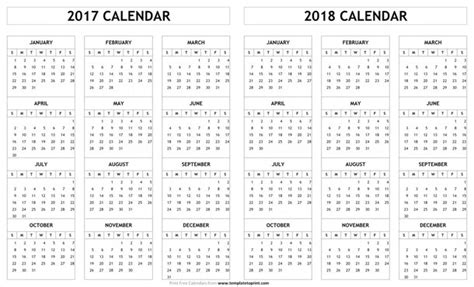 Calendar 2017 And 2018 2017 2018 Calendar Printable Template Pdf Holidays And