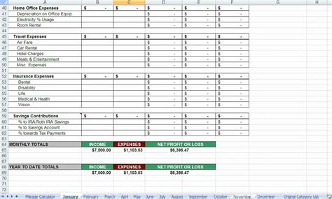 spreadsheet for tax expenses spreadsheet for tax expenses