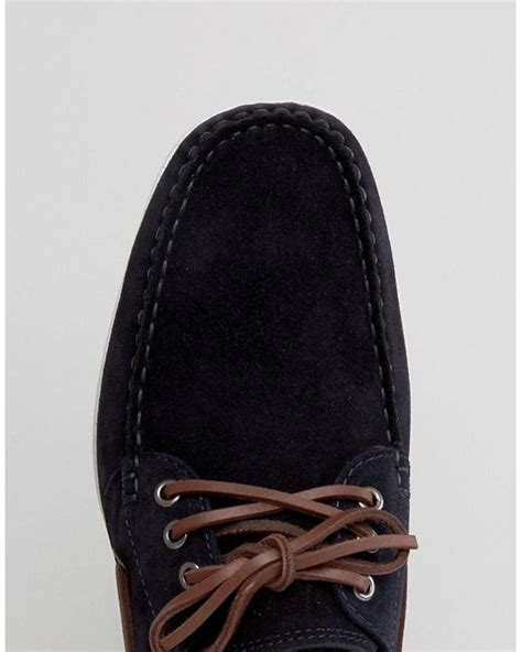 boat shoes hugo boss boss orange by hugo boss deck suede boat shoes in blue for