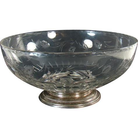 Cut Glass L Base by Cut Glass Bowl With Sterling Base Dtr Antiques