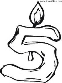 Number 5 Candle Coloring Page sketch template