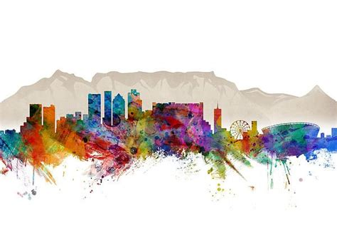 watercolor tattoos cape town cape town south africa skyline canvas print canvas