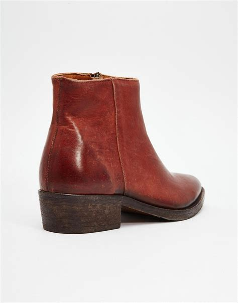 selected selected femme bobi cognac leather ankle boots