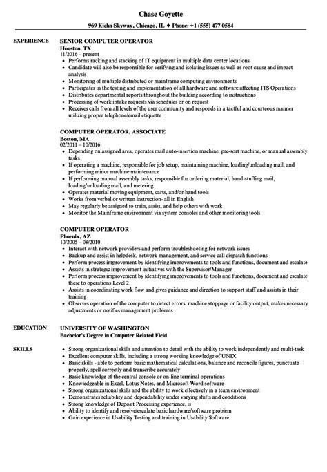 contemporary resume for computer operator gallery resume