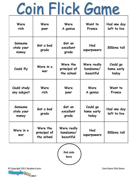 printable games for esl 2nd conditional game teaching pinterest coins