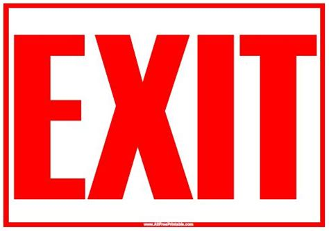 printable free sign image gallery printable exit signs