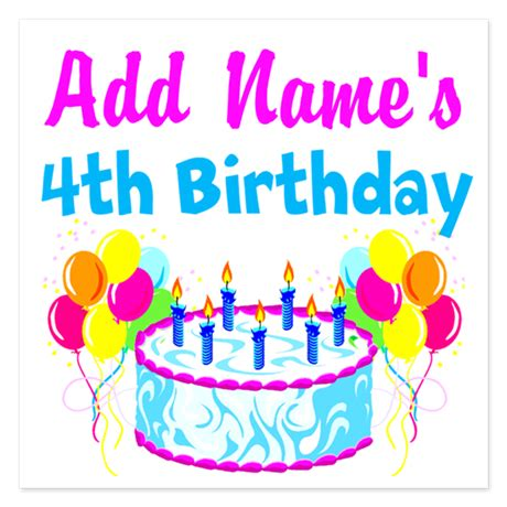 4th Birthday Invitation Cards Happy 4th Birthday Invitations By Jlporiginals