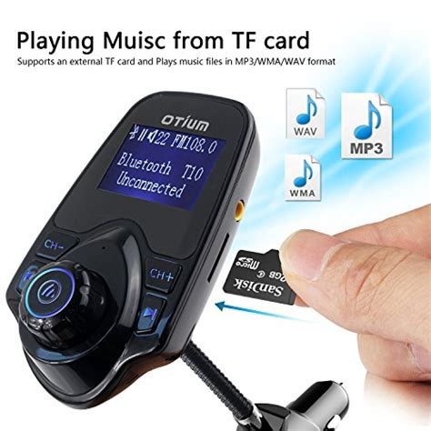 Bluetooth Audio Receiver Fm Transmitter With Usb Car Charger fm transmitter otium bluetooth wireless radio adapter audio receiver stereo tuner