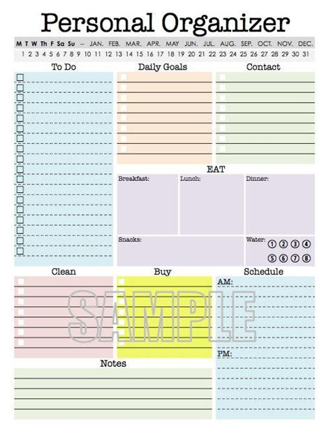 Download Printable Organizer | personal organizer editable daily planner weekly