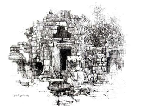 sketchbook recommendations doorway and statue angkor wat pen and ink drawing 20 quot x