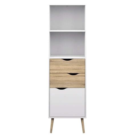 white oak bookcase bookcase with 2 drawers and 1 door in white oak 7538249ak