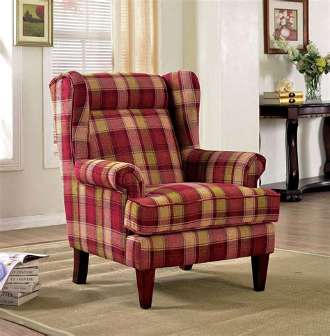 Plaid Chairs Living Room Living Room Accent Chair Wingback Color Espresso Finish Legs Plaid Patterned Ebay