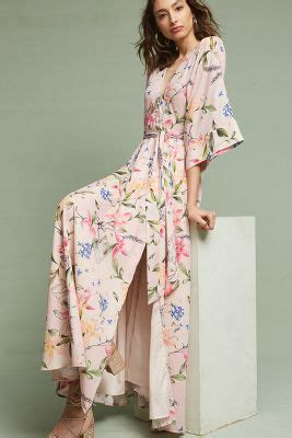 Floral Kimono Maxi Dress   Anthropologie