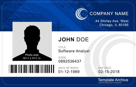 id card template free 16 id badge id card templates free template archive