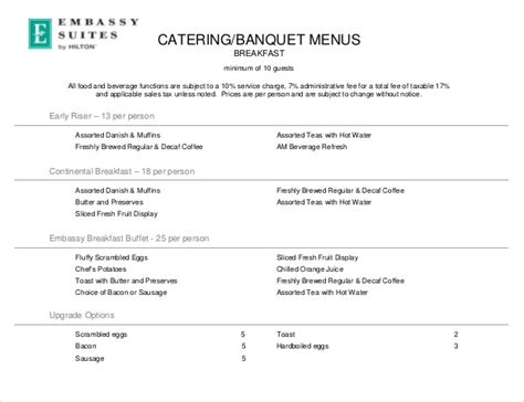 26 catering menu templates free sle exle format