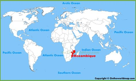 List Of All Us States by Mozambique Location On The World Map