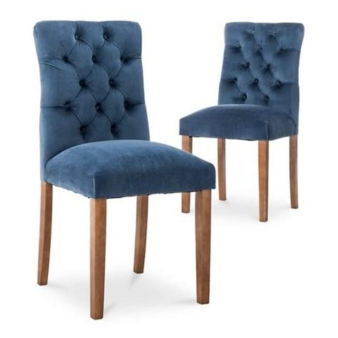 Blue Tufted Dining Chair Archer Blue Dining Chair