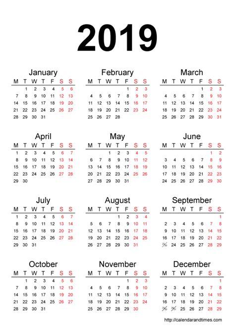 printable online calendar 2019 calendar 2019 printable one page calendar and times