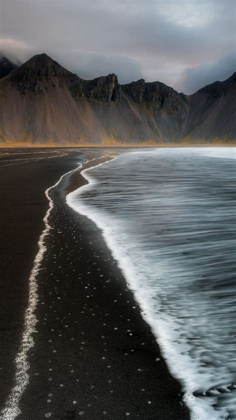 beach foam iceland mountain nature  wallpaper