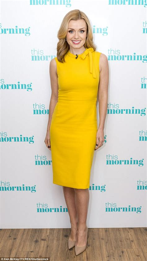 what color shoes with yellow dress katherine jenkins looks in a form fitting