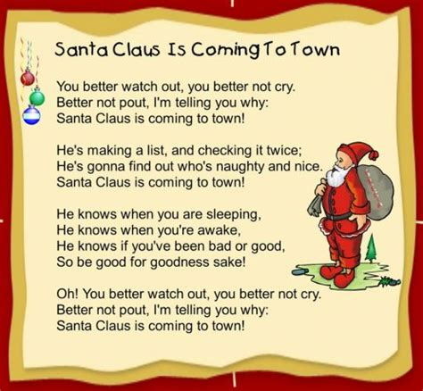 printable lyrics for santa claus is coming to town 10 best popular christmas songs