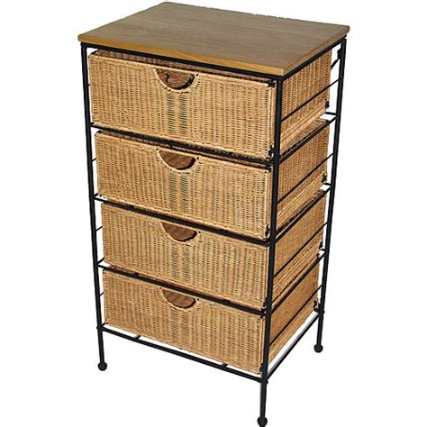 Wicker Drawer Chest by Four Drawer Steel And Wicker Chest Walmart