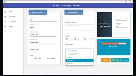design of management system javafx material design student management system youtube