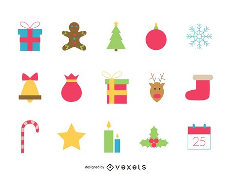 Chrismast Ikon festive icon set free vector