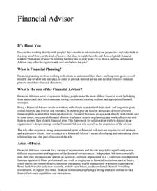 Financial Advisors Description by Sle Financial Advisor Description 7 Exles In