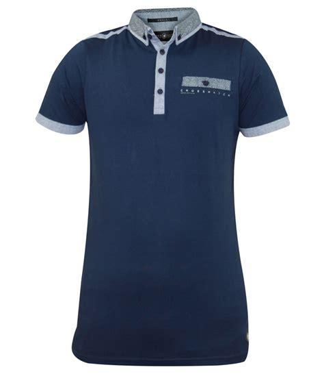 D F T Shirt Dsgn Blue new mens crosshatch collar designer cross print summer 100