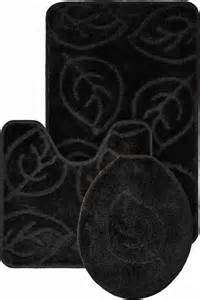 black bath mat set leaf pattern design 3 bath mat rug set everyday